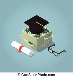 Educational loan concept - Isometric vector illustration of...