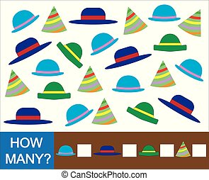 Educational mathematical game for children. Count how many hat. Vector illustration.