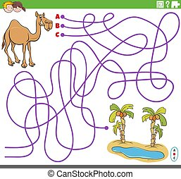 educational maze game with cartoon camel and oasis