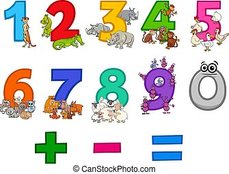 educational numbers set with funny cartoon animals