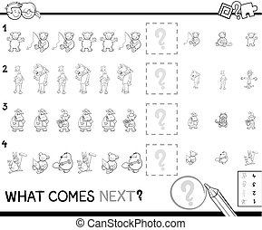 educational pattern coloring page for kids - Black and White...