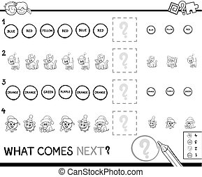 educational pattern game coloring page - Black and White...