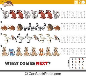 educational pattern game for children with cartoon animals