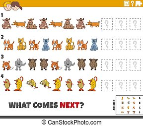 educational pattern task for kids with cartoon animals