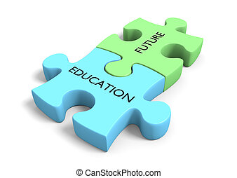 Educational planning concept of two puzzle pieces linked...