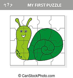 Educational puzzle game for children. Kids activity sheet with snail character
