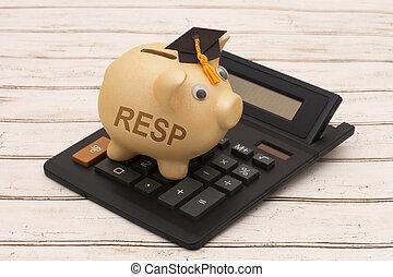 Educational Savings Plans, A golden piggy bank with grad cap...