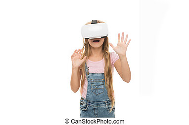 Educational services. Augmented reality technology. Virtual reality is exciting. Girl little kid wear vr glasses white background. Virtual education concept. Modern life. Interaction in virtual space