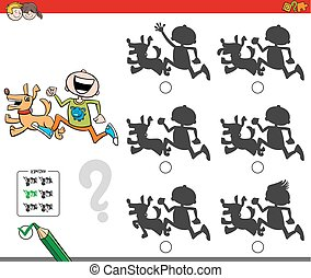 educational shadow game with boy and dog - Cartoon...