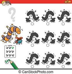 Cartoon Illustration of Finding the Shadow without Differences Educational Activity for Children with Two Insect Characters
