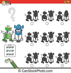 Cartoon Illustration of Finding the Shadow without Differences Educational Activity for Children with Two Robots Characters