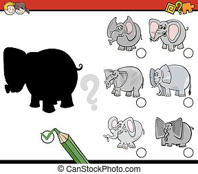 educational shadows activity - Cartoon Illustration of...