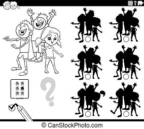 Black and White Cartoon Illustration of Finding the Shadow without Differences Educational Game with Children Characterss Coloring Book Page
