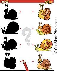 educational shadows task for kids - Cartoon Illustration of...