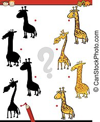 educational shadows task fot kids - Cartoon Illustration of...