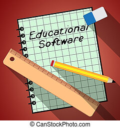 Educational Software Represents Learning Application 3d Illustration