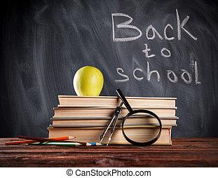 Educational still life with blackboard - Still life of...