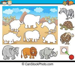 Cartoon Illustration of Educational Game for Preschool Children with Safari Animal Characters