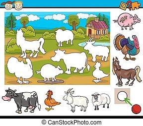 educational task for preschoolers - Cartoon Illustration of...