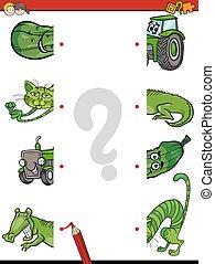educational task of halves join - Cartoon Illustration of...