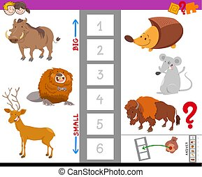 educational task with large and small animals