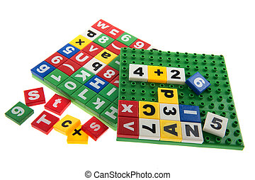 Educational toys with numbers and letters isolated over ...