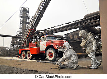 educational training fire fighting - training exercise...