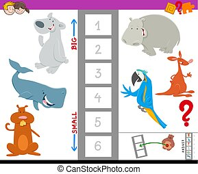 educational workbook with large and small animals - Cartoon...