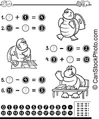 educational worksheet coloring page - Black and White...