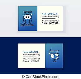 Educative teaching set of business cards vector illustration. Online education, learning, learn to think. Owl sitting on pencil. Globe and graduate cap. Contact information.