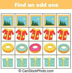 educativo, adattare, game., trovare, cosa, uno, dispari, logica, non, tipo, bambini, row., fuori