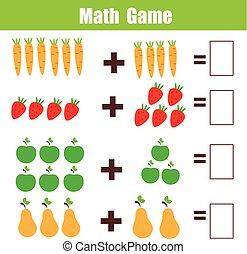 educativo, adición, worksheet, juego, matemáticas, niños,...