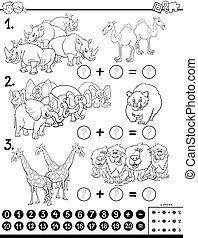 educativo, animali, addizione, colorare, gioco, libro