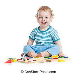 educativo, bambino, isolato, giocattoli, bianco, gioco, ...