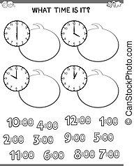 educativo, cara, niños, juego, reloj