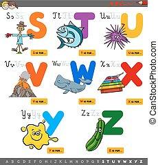 educativo, caricatura, alfabeto, conjunto, para, niños