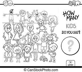 educativo, colorare, libro, attività, conteggio, bambini