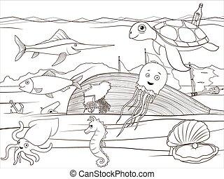 educativo, colorido, vida, libro, mar, caricatura