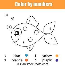 educativo, coloritura, colorare, fish, character., pagina, disegno, gioco capretti, attività, bambini, numeri