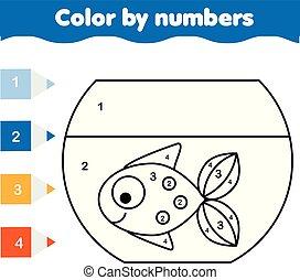 educativo, coloritura, colorare, game., fish, bambini, aquarium., printable, numeri, attività, pagina