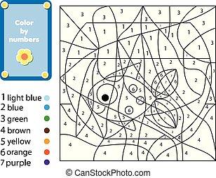educativo, coloritura, colorare, game., fish, bambini, printable, numeri, bowl., attività, pagina