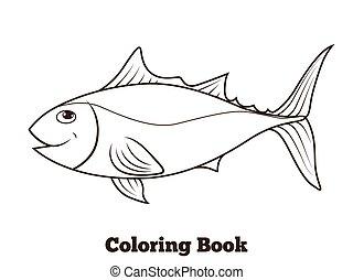 educativo, coloritura, fish, tunny, libro, cartone animato