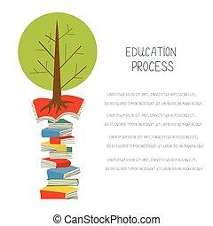 educativo, concepto, con, libros, y, árbol, diseño, para, el, blanco