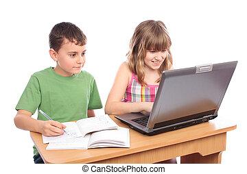 educativo, concepto, trabajando, escuela, juntos, niños