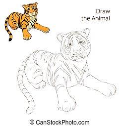 educativo, disegnare, gioco, vettore, animale, toro