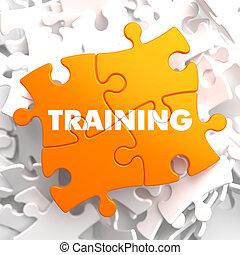 educativo, entrenamiento, concept., amarillo, puzzle.