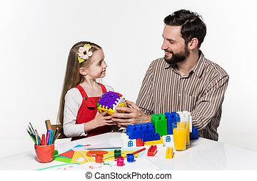 educativo, figlia, padre, insieme, giochi, gioco