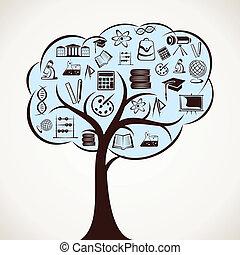 educativo, icono, árbol