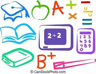 educativo, iconos