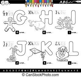 educativo, niños, alfabeto, caricatura, colorido, página
